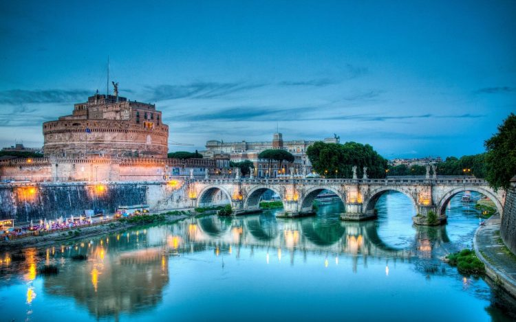 Italy, Rome, bridge, Tiber River, Castle St. Angel, sant 'Angelo, wallpapers , Pc backgrounds, free photos