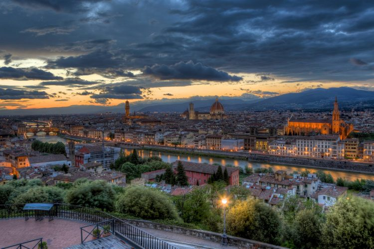 Italy, Tuscany, Florence, evening, sunset, panorama, Trees, architecture, bridge, river, backlight, lights, lights, wallpapers , Pc backgrounds, free photos