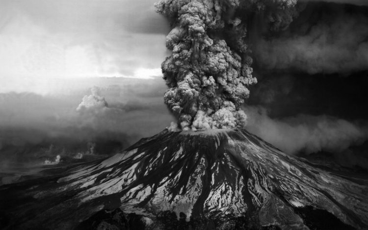mountain, eruption, ash, photo, black and white, wallpapers , Pc backgrounds, free photos