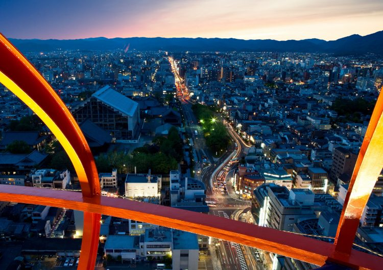 Japan, Kyoto, form, building, lights, sky, wallpapers , Pc backgrounds, free photos
