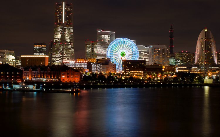 Japan, Yokohama, Port, megalopolis, Ferris Wheel, night, lights, backlight, bay, reflection, wallpapers , Pc backgrounds, free photos