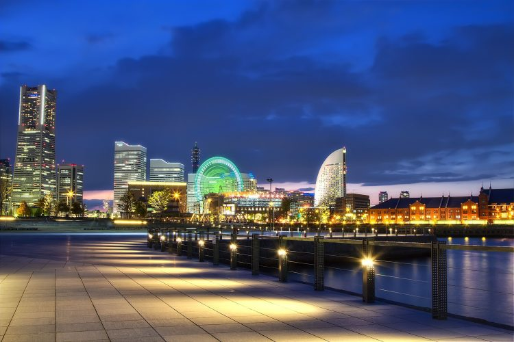 Japan, Yokohama, Port, megalopolis, night, lights, embankment, bay, wallpapers , Pc backgrounds, free photos