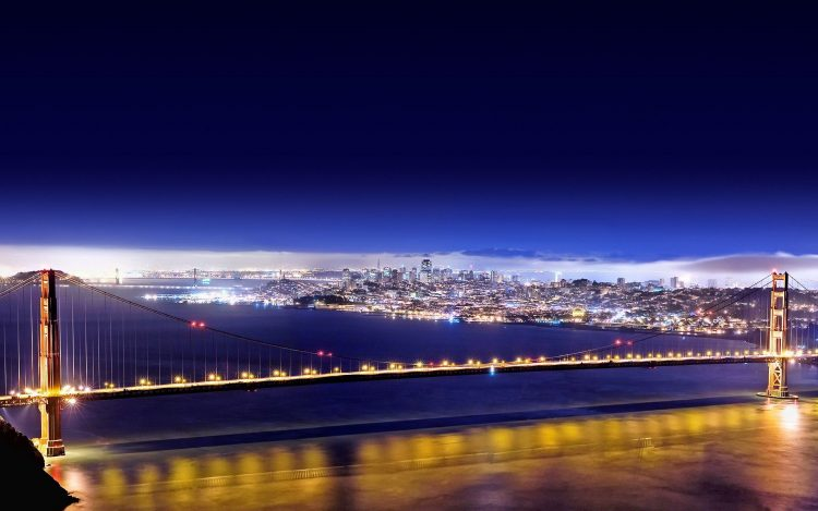 Lights, Bridge, golden gate, San Francisco, night, wallpapers , Pc backgrounds, free photos