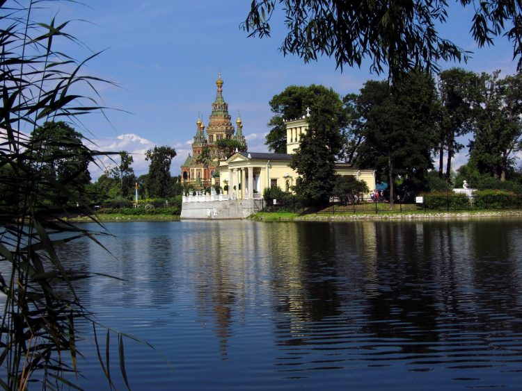 lake, Russia, sky, Holguin pond in the park of Peterhof, wallpapers , Pc backgrounds, free photos