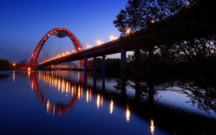 landscape, City, Wallpaper, sky, night, Bridges, light, Lights, road, lighting, Trees, water, river, photo, wallpapers , Pc backgrounds, free photos