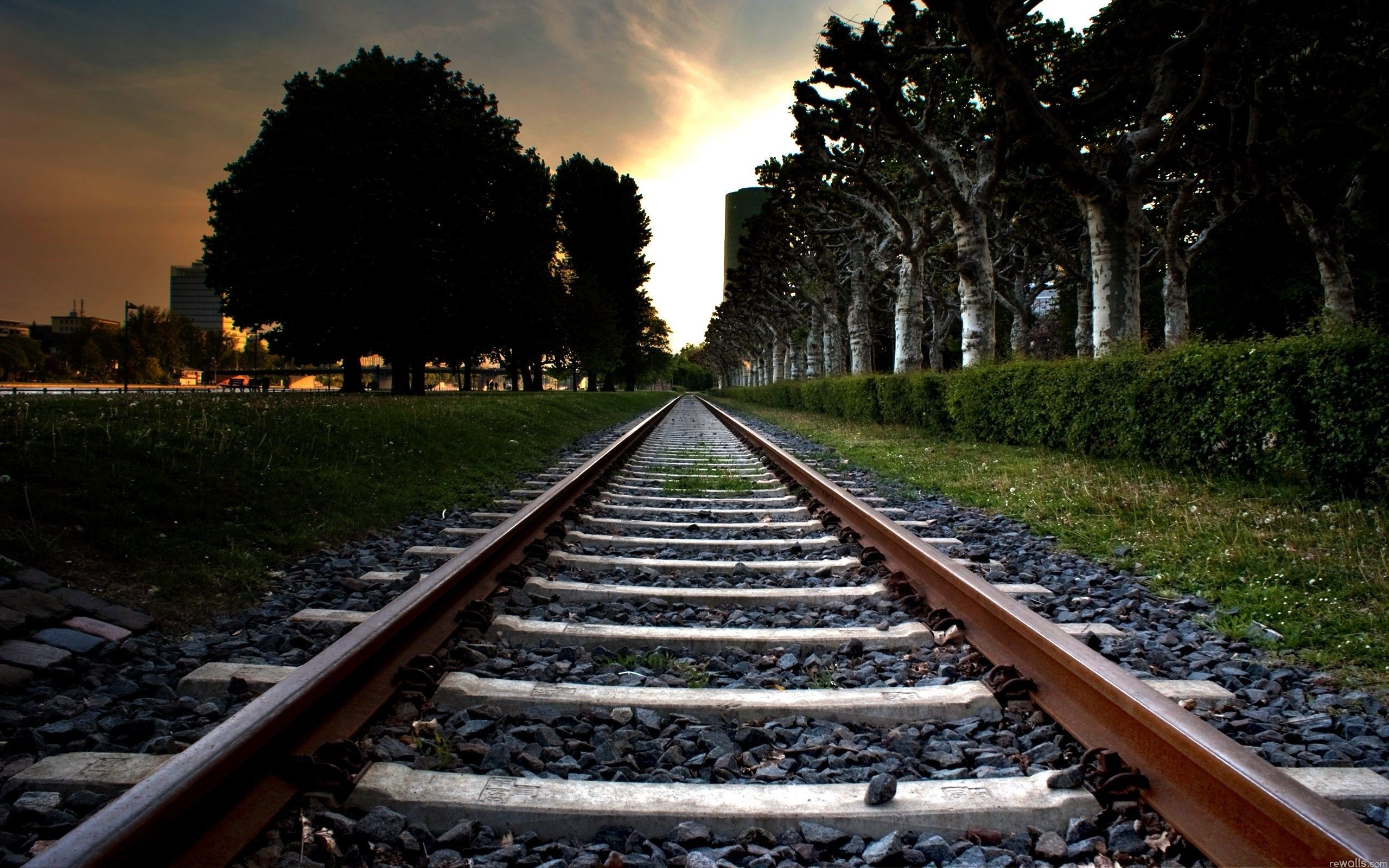 line, Rails, Trees, city, wallpapers , Pc backgrounds, free photos - HD wallpaper desktop backgrounds