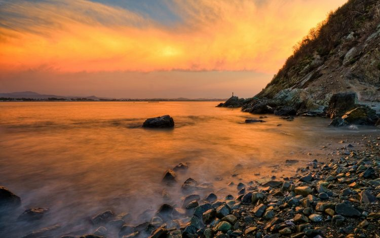 landscape, stones, pebble, coast, rock, ocean, wallpapers , Pc backgrounds, free photos