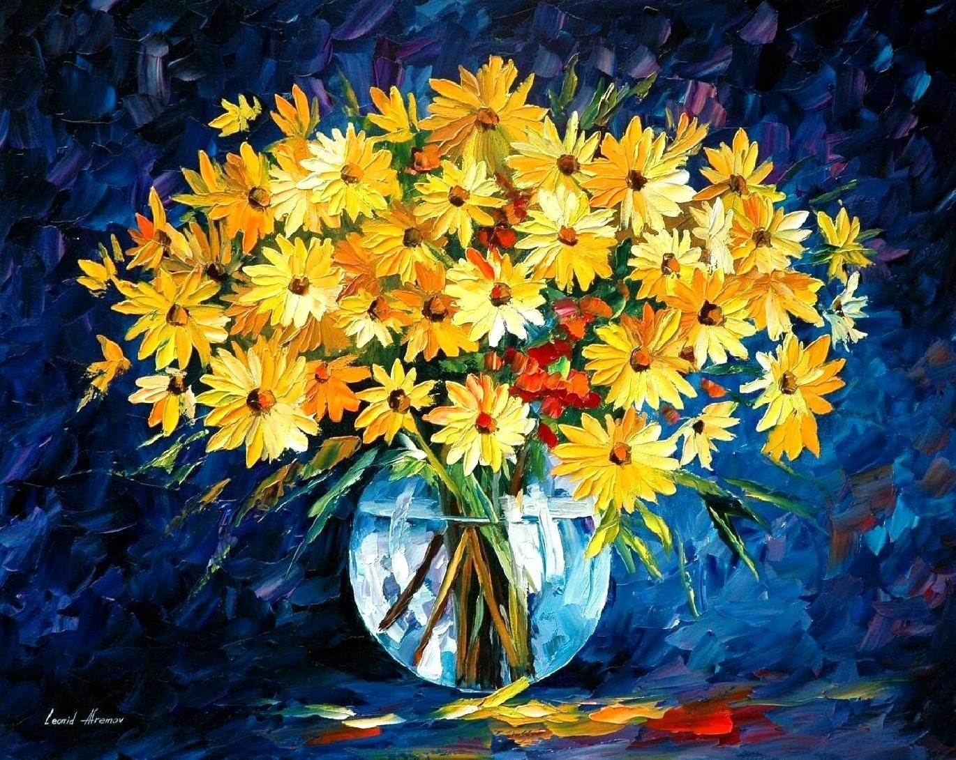 Flowers, Zsolt, Afremov, painting, wallpapers , Pc backgrounds, free photos - HD wallpaper desktop backgrounds