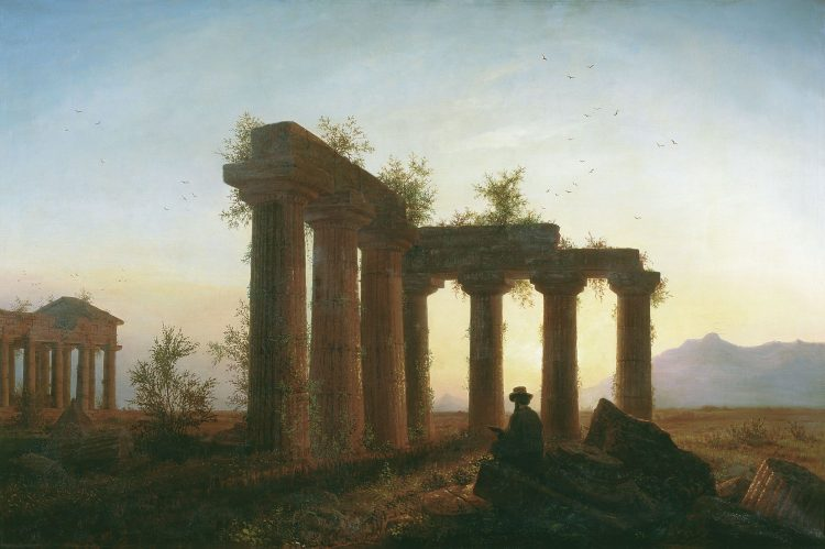 Greek temple, sunset, man, painting, wallpapers , Pc backgrounds, free photos