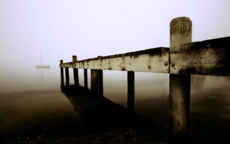 Sea, ship, coast, sand, fog, pier, wallpapers , Pc backgrounds, free photos