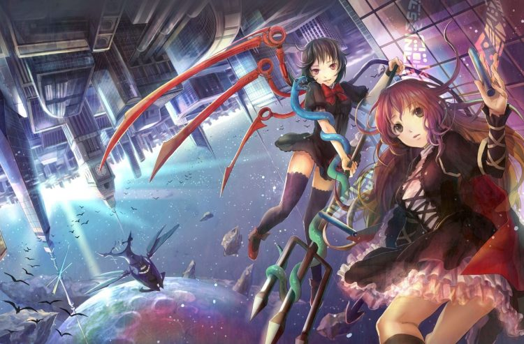 anime, Girls, city, trident, moon, wallpapers , Pc backgrounds, free photos