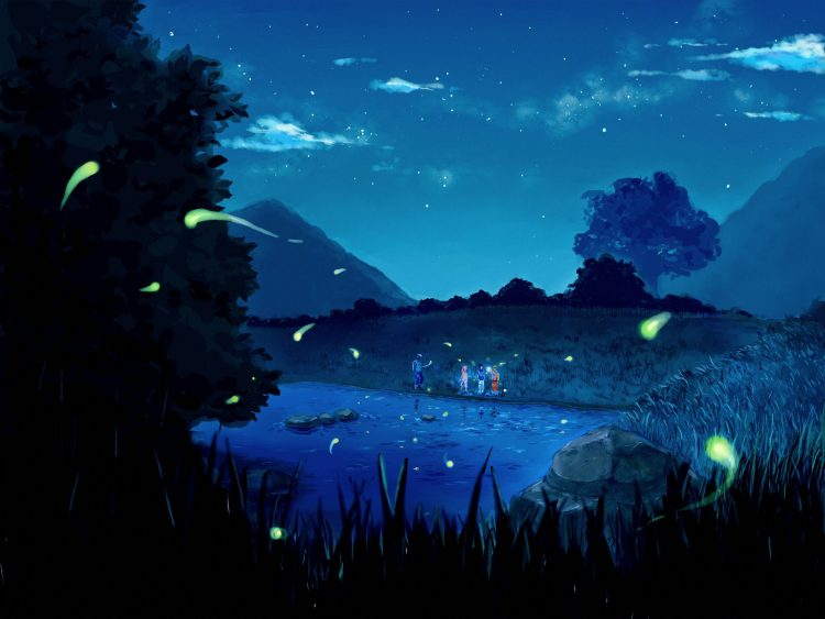 anime, Naruto, night, lake, Star, clouds, nature, Trees, Mountains, Friends, team, wallpapers , Pc backgrounds, free photos