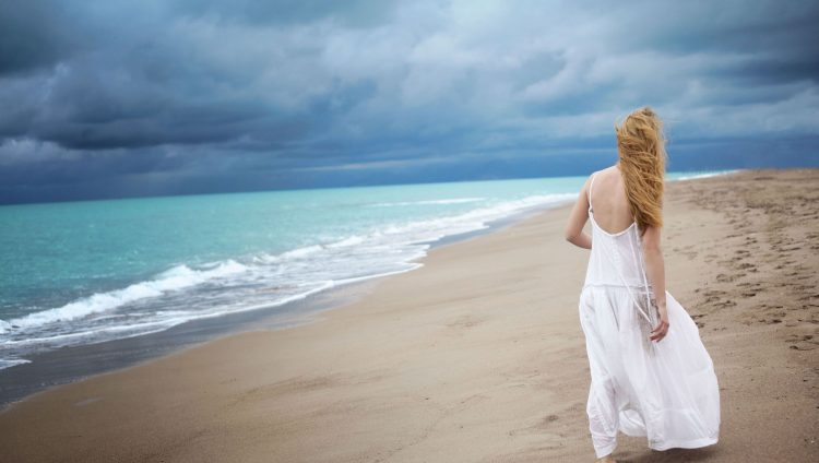 dress, girl, beach, Sea, wave, loneliness, wallpapers , Pc backgrounds, free photos