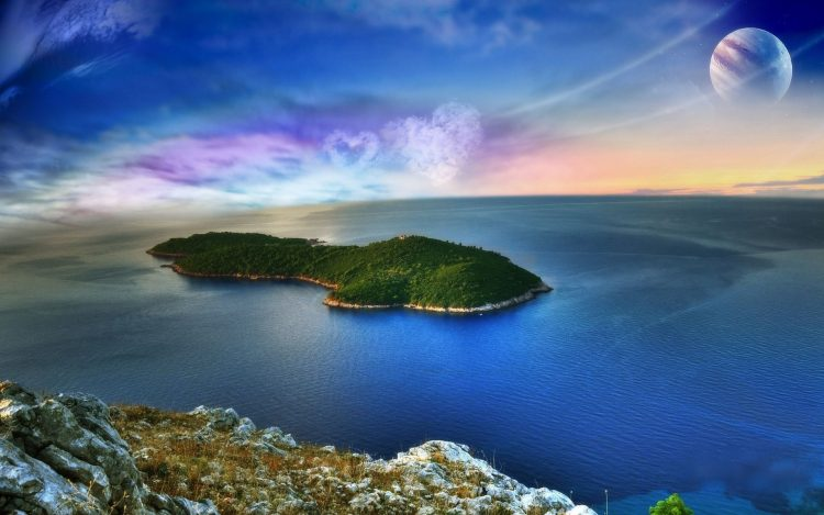 planet, form, clouds, Island, ocean, wallpapers , Pc backgrounds, free photos