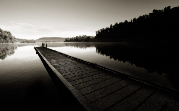 river, pier, forest, black and white, wallpapers , Pc backgrounds, free photos