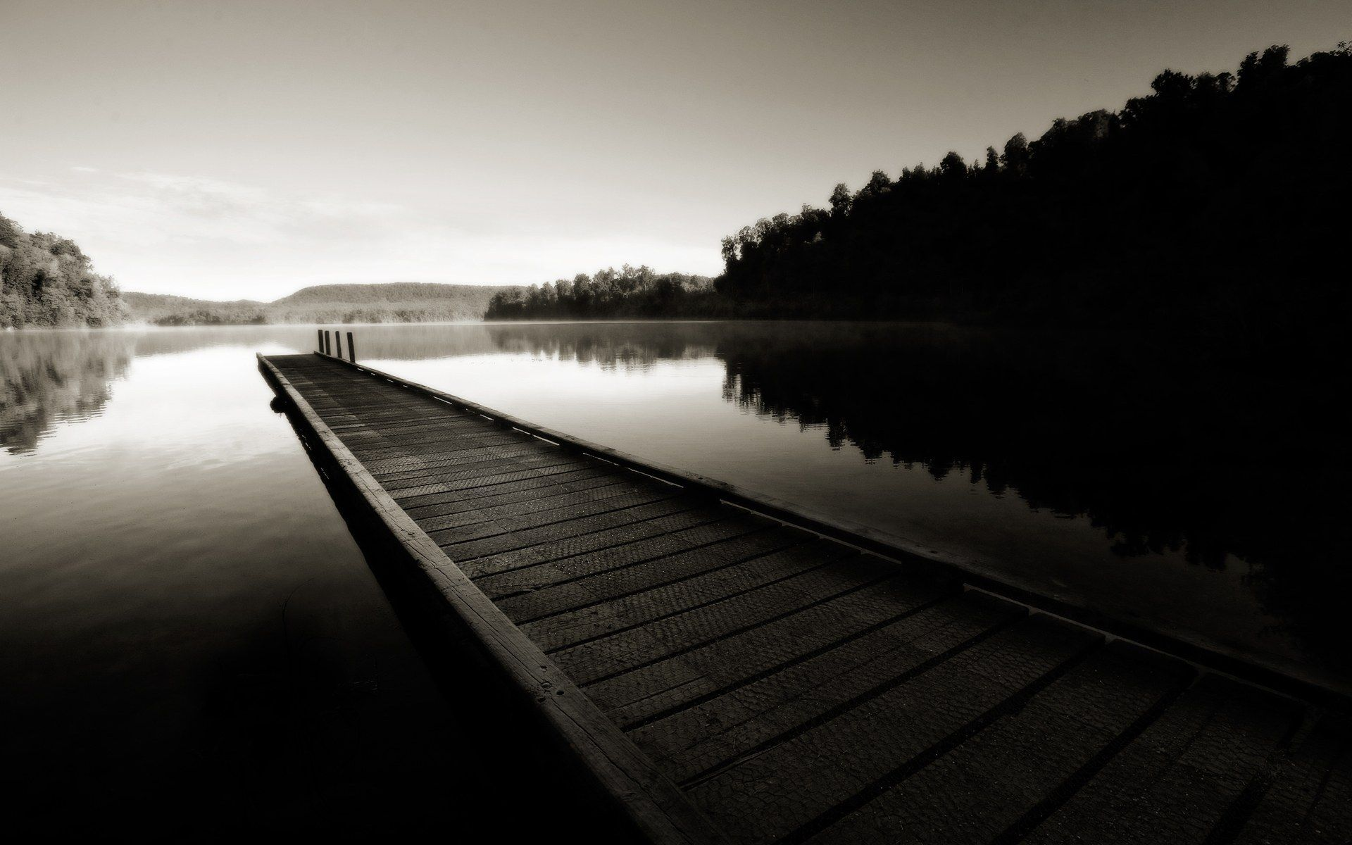 river, pier, forest, black and white, wallpapers , Pc backgrounds, free photos - HD wallpaper desktop backgrounds