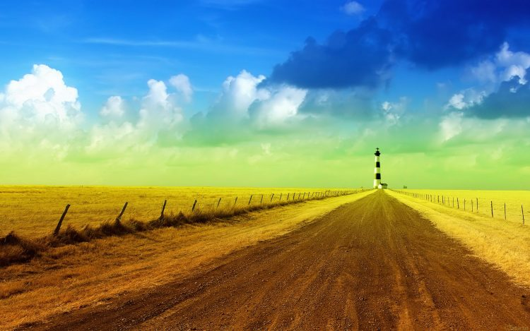road, sky, lighthouse, wallpapers , Pc backgrounds, free photos