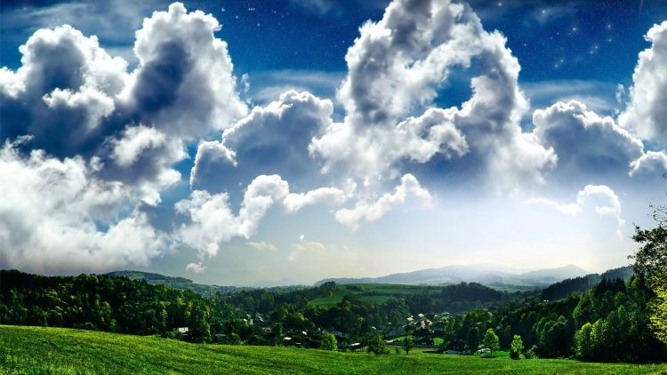 sky, grass, hamlet, clouds, Trees, wallpapers , Pc backgrounds, free photos